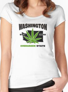 Washington Marijuana Cannabis Weed  Women's Fitted Scoop T-Shirt