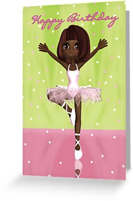 Ballet Birthday Card - Cute Ballerina Birthday Card by Moonlake