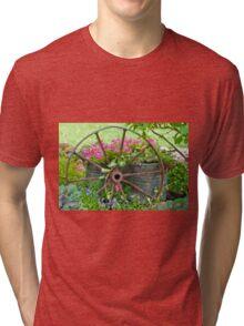 Vintage Wheel Garden Scene - Digital Oil  Tri-blend T-Shirt