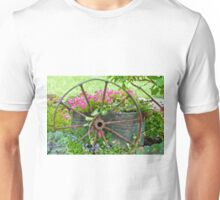 Vintage Wheel Garden Scene - Digital Oil  Unisex T-Shirt