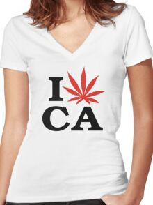 I Love Marijuana Canada Women's Fitted V-Neck T-Shirt