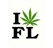 I Love Florida Marijuana Cannabis Weed  Art Print