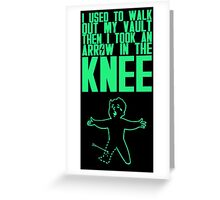Vault Boy - Knee (ENG) - Green Greeting Card