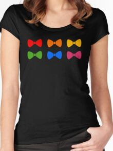 Rainbow Bows Pattern Women's Fitted Scoop T-Shirt
