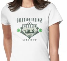 "Marijuana Colorado Springs ""Lite It Up"" Womens Fitted T-Shirt"