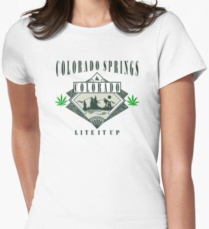"Marijuana Colorado Springs ""Lite It Up"" Womens Fitted T-Shirt"