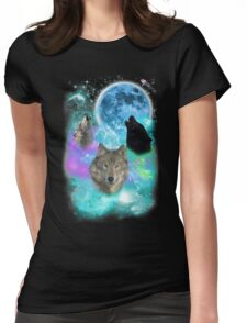 Wolves Mystical Night Womens Fitted T-Shirt