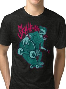 Skate and Die blue Tri-blend T-Shirt