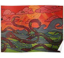 sea monster sunset Poster