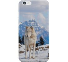 White Grey Wolf & Rocky Mountains Art  iPhone Case/Skin