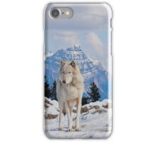 White Grey Wolf & Rocky Mountains Art  iPhone Case/Skin