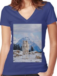White Grey Wolf & Rocky Mountains Art  Women's Fitted V-Neck T-Shirt