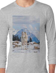 White Grey Wolf & Rocky Mountains Art  Long Sleeve T-Shirt