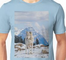 White Grey Wolf & Rocky Mountains Art  Unisex T-Shirt