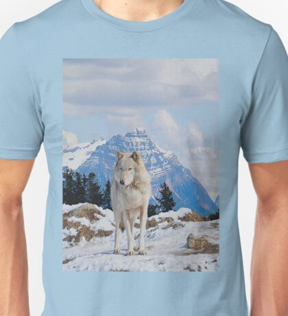 White Grey Wolf & Rocky Mountains Art  Unisex T-Shirt