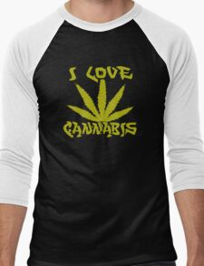 I Love Cannabis Men's Baseball ¾ T-Shirt