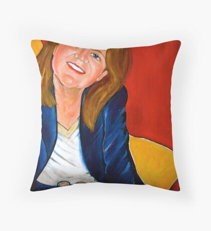Self-portrait in red, blue and yellow  Throw Pillow