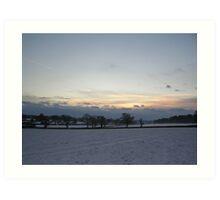 Snowy sunset1 Art Print
