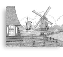 MILLS FROM 1633 IN THE SCHERMERPOLDER - PEN DRAWING Canvas Print