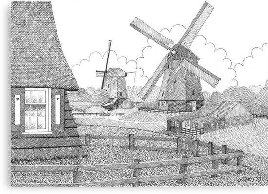 MILLS FROM 1633 IN THE SCHERMERPOLDER - PEN DRAWING by RainbowArt