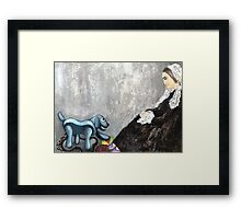 Woman with Robotic Dog Framed Print