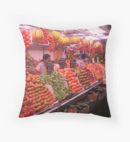 Boqueria market Barcelona - Colorful Vegetables Throw Pillow