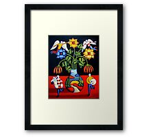 Softvase with flowers and figures Framed Print