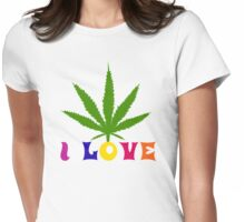 I Love Marijuana Womens Fitted T-Shirt