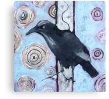 Crow, ink resist on canvas Canvas Print