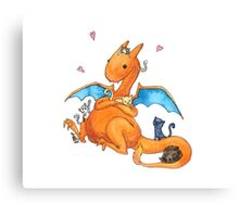 Charizard and Kittens Watercolor Canvas Print