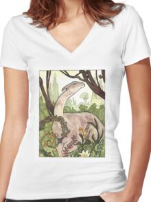 Parasaurolophus Watercolor Women's Fitted V-Neck T-Shirt