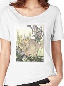 Triceratops in the Iris Watercolor Women's Relaxed Fit T-Shirt