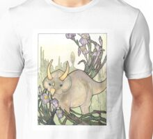 Triceratops in the Iris Watercolor Unisex T-Shirt