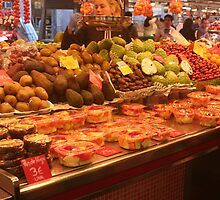 Boqueria market Barcelona - Anona and other fruits by Ilan Cohen