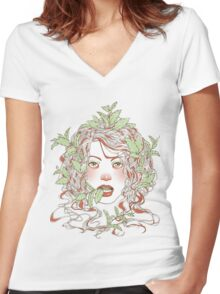 Peppermint Girl Women's Fitted V-Neck T-Shirt