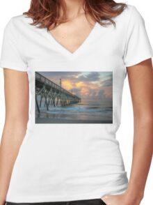 Stormy Sunrise  Women's Fitted V-Neck T-Shirt