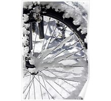Snow on a bicycle wheel Poster