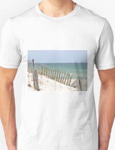 Ocean view through the beach fence T-Shirt