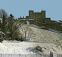 Dover Castle in Snow Panorama by Dave Godden