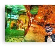 Night shopping scene in Traverse City Canvas Print
