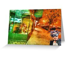 Night shopping scene in Traverse City Greeting Card