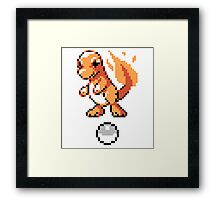 Charmander With Pokeball Retro 8-Bit Framed Print