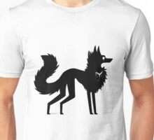 White Ink Heart (Black Out Wolf) Unisex T-Shirt