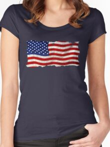 Tattered Grunge Patriotic USA Flag, United States Women's Fitted Scoop T-Shirt