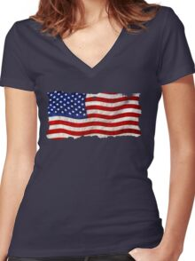 Tattered Grunge Patriotic USA Flag, United States Women's Fitted V-Neck T-Shirt