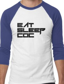 eat, sleep, coc (clash of clans) typography - foughtknight Men's Baseball ¾ T-Shirt