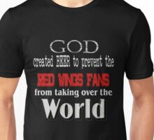 God, Beer & the Red Wings for Dark Backgrounds Unisex T-Shirt