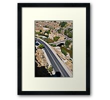 Roads and bridge over Tagus river in Toledo, Spain Framed Print