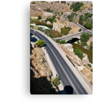 Roads and bridge over Tagus river in Toledo, Spain Canvas Print