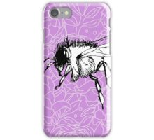 Flying Bee on Peony Pattern-Mauve iPhone Case/Skin